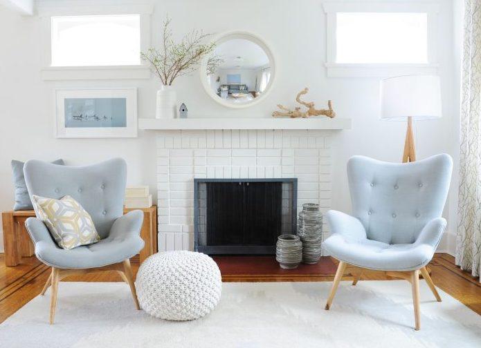 classic elegant living room white powder blue ottoman vancouver lower mainland