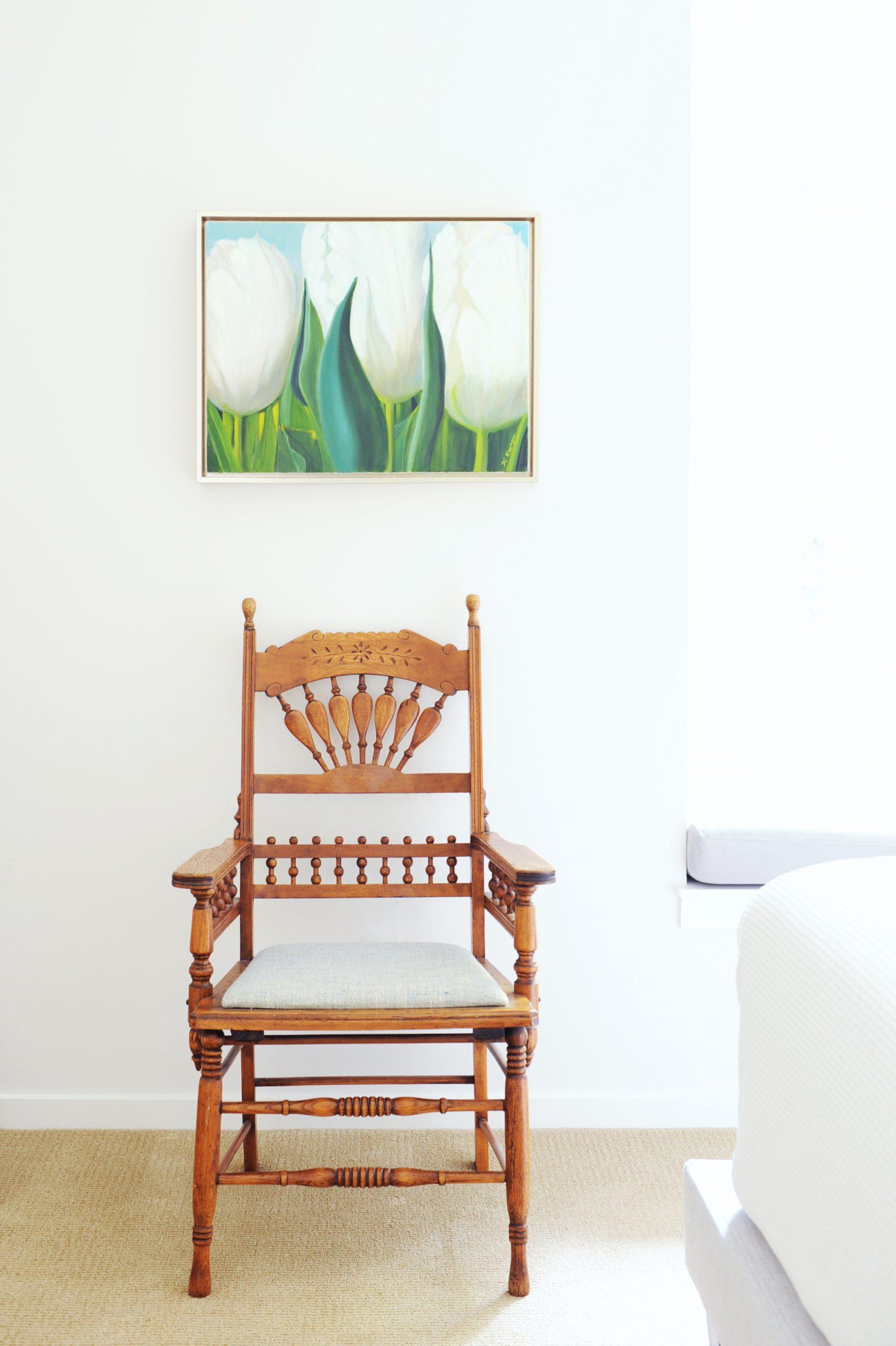 custom wooden chair antique green white flower art work bedroom