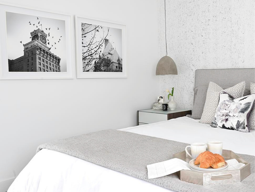simply-home-decorating-east-vancouver-bc-decorate-with-personality-bedroom-gray-patterned-wallpaper-pendant-for-lighting