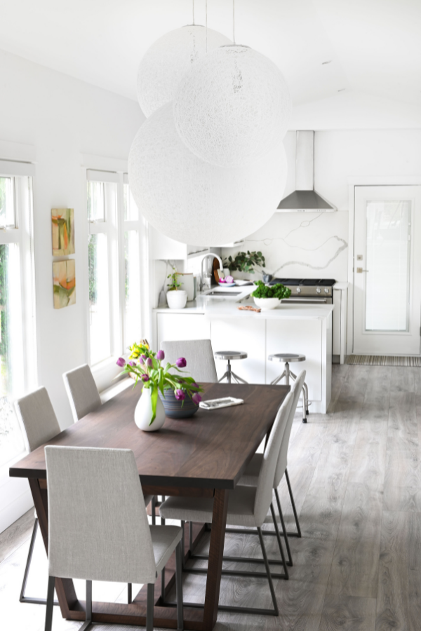kitchen-design-grey-laminate-flooring-dining-room-kitchen-combo-all-white-modern-chairs