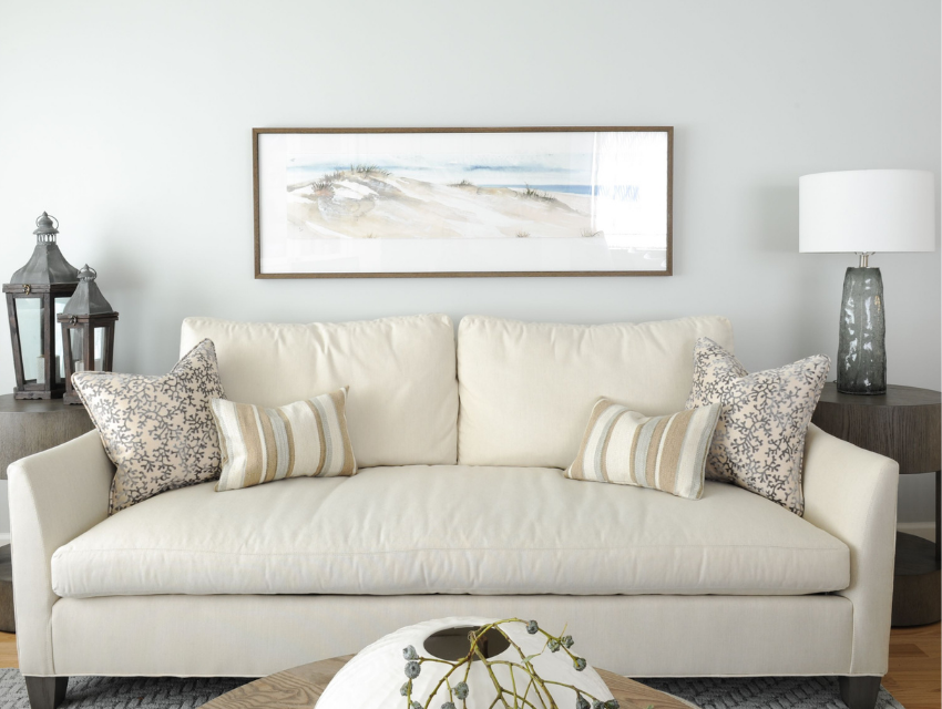 simply-home-decorating-north-vancouver-child-friendly-home-adults-love-sunbrella-fabric-sofa-custom-cream-colored-ocean-inspired-wall-art