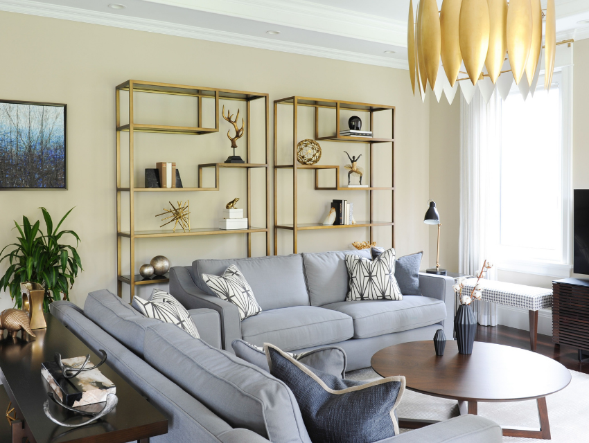 simply-home-decorating-north-vancouver-child-friendly-home-adults-love-unique-gold-lighting-livingroom-shelves-gold