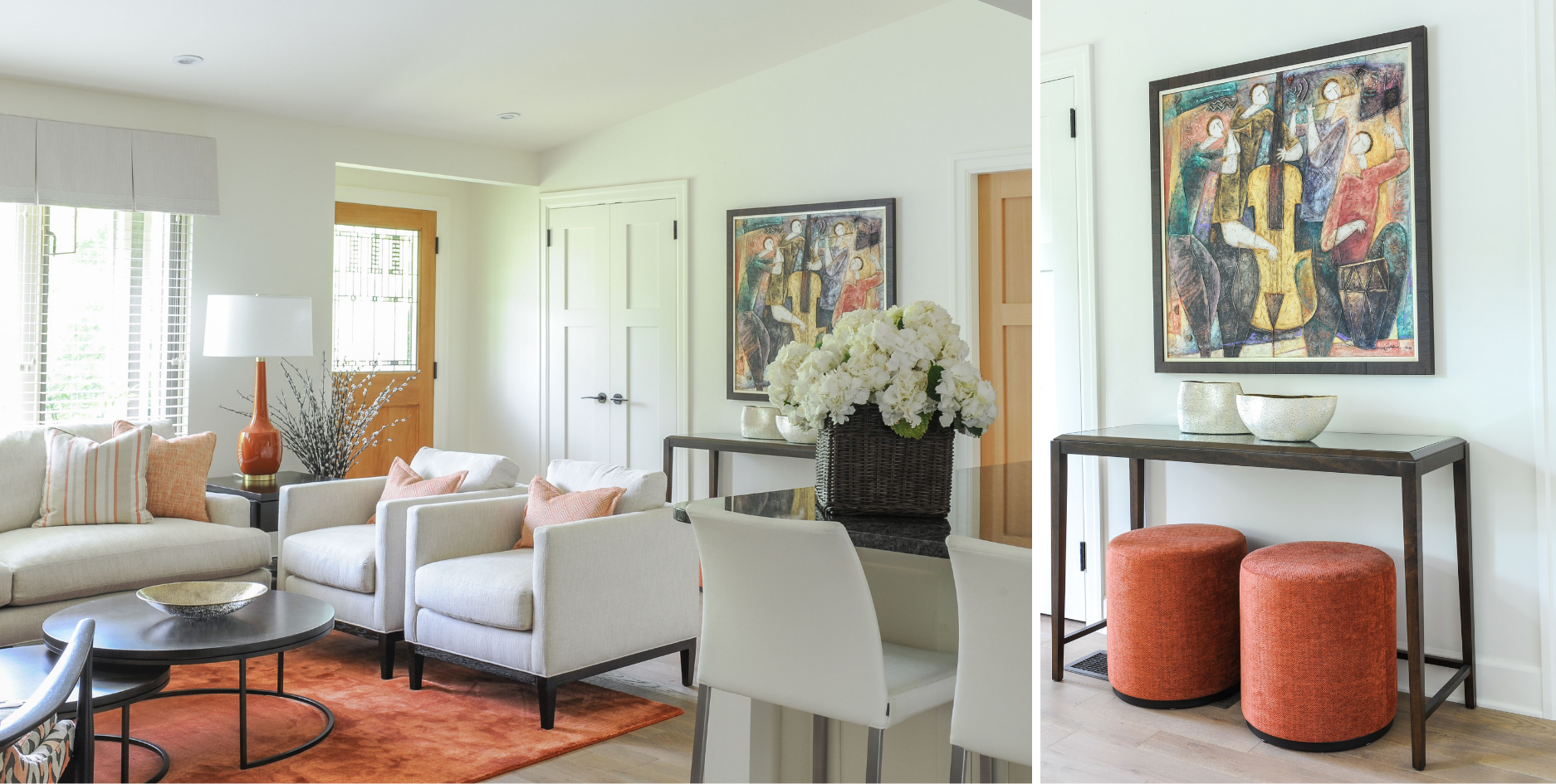 simply-home-decorating-north-vancouver-statement-pieces-interior-design-accent-rug-patterned-accent-chairs-matching-lamps